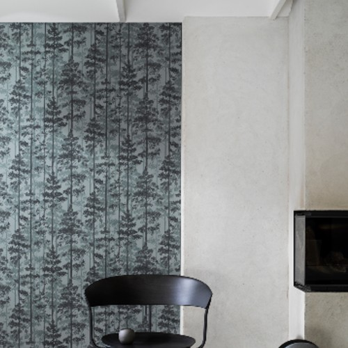 8826 Brewster Wallcovering Graphic World Pine Silhouette Trees Wallpaper Sage Room Setting