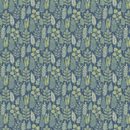 SP1413 York Wallcoverings Small Prints Leaf Life Wallpaper Navy