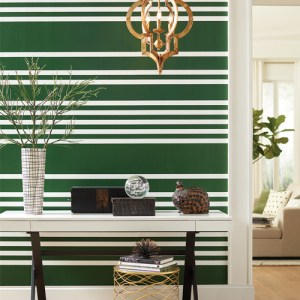 SR1618 York Wallcovering Stripes Resource Library Scholarship Stripe Wallpaper Green Room Setting