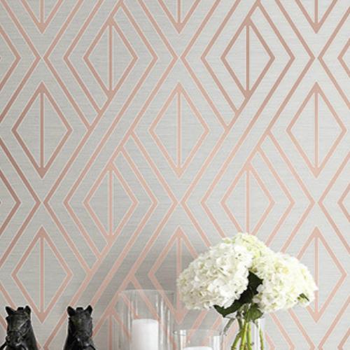 UK30506 Seabrook Wallcovering Pear Tree Studio Shimmer Abstract Diamond Wallpaper Rose Gold Room Setting