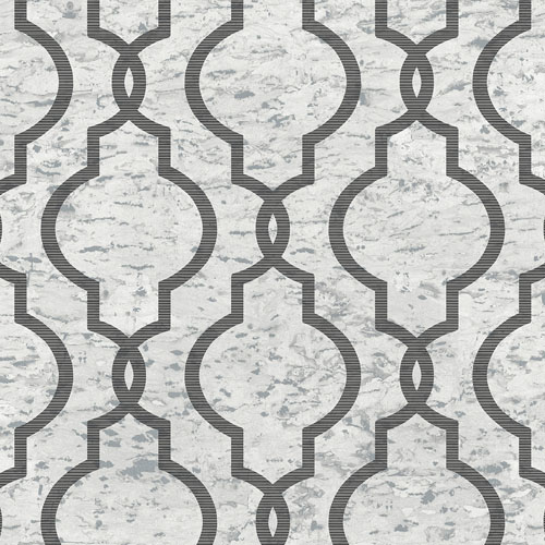 UK20900 Seabrook Wallcovering Pear Tree Studios Shimmer Faux Cork Trellis Wallpaper Silver