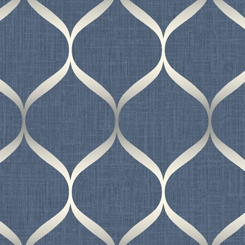 UK21202 Seabrook Wallcovering Pear Tree Studio Shimmer Trellis Ogee Wallpaper Blue