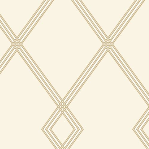 CY1508 York Wallcovering Conservatory Ribbon Stripe Trellis Wallpaper Cream Gold