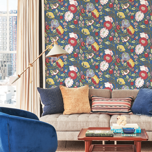CY1515 York Wallcoverings Conservatory Vincent Poppies Wallpaper Navy Room Setting