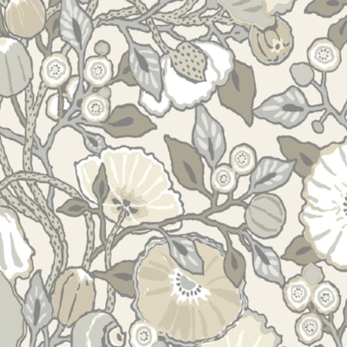 CY1519 York Wallcoverings Conservatory Vincent Poppies Wallpaper Grey