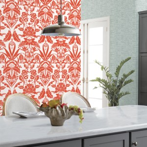 CY1586 York Wallcovering Conservatory Botanical Damask Wallpaper Orange Room Setting