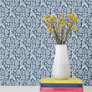 SP1404 York Wallcovering Small Prints Plumage Wallpaper Navy Closeup