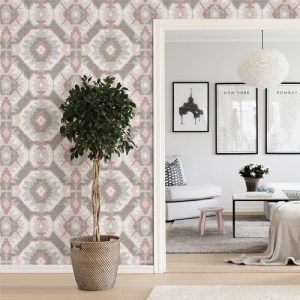 2902-25550 Brewster Wallcovering A Street Prints Theory Kazac Shibori Wallpaper Light Pink Room Setting