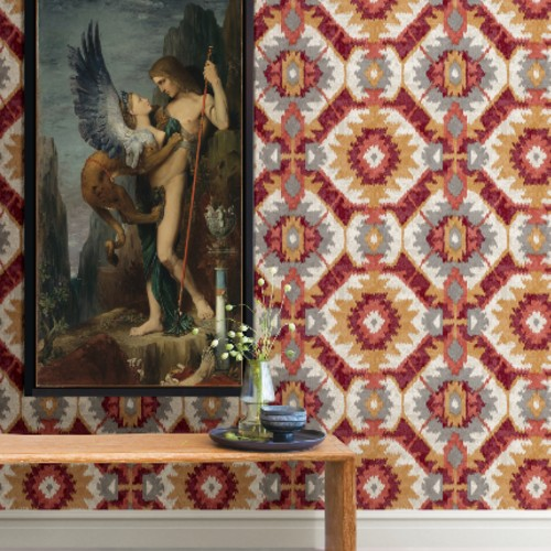2902-25551 Brewster Wallcovering A Street Prints Theory Kazac Shibori Wallpaper Multicolor Room Setting