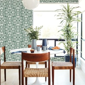 2902-87332 Brewster Wallcovering A Street Prints Theory Helios Geometric Wallpaper Green Room Setting