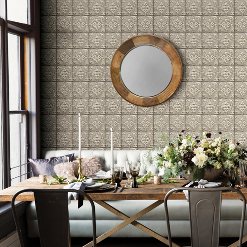 2922-23764 Brewster Wallcovering A Street Prints Trilogy Cornelius Tin Ceiling Tile Wallpaper Grey Room Setting