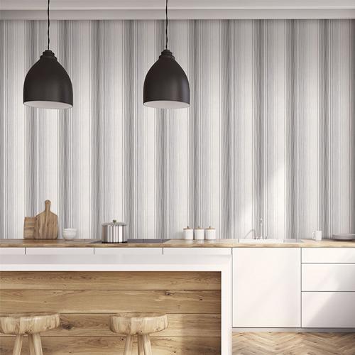 ST36921 Patton Wallcovering Norwall Simply Stripes 3 Random Stripe Wallpaper Black Room Setting