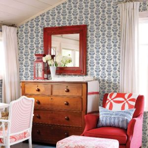 3119-13512 Brewster Wallcovering Chesapeake Kindred Dolly Floral Wallpaper Navy Room Setting