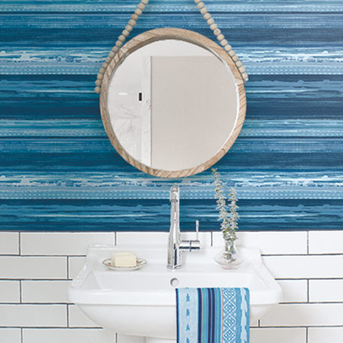 RY31302 Seabrook Wallcovering Boho Rhapsody Horizon Wallpaper Blue Room Setting