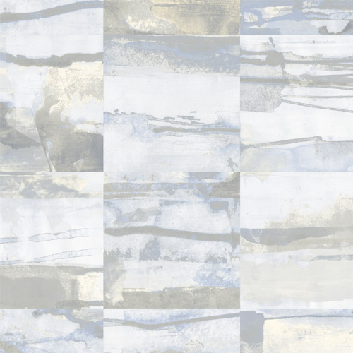 FW36812 Patton Wallcovering Norwall Fresh Watercolors Aquarelle Tile Wallpaper Cream