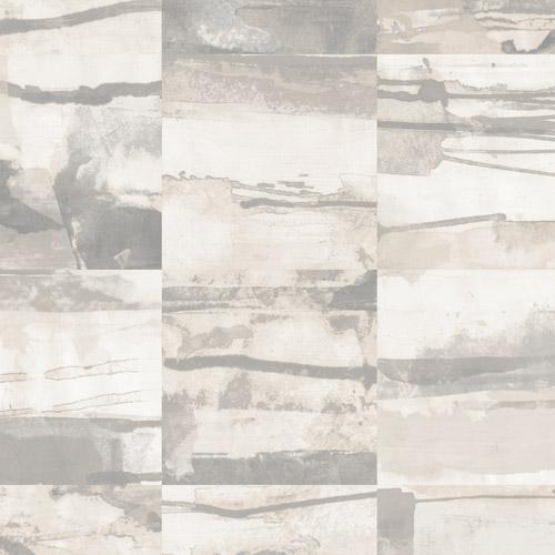 FW36813 Patton Wallcovering Norwall Fresh Watercolors Aquarelle Tile Wallpaper Grey