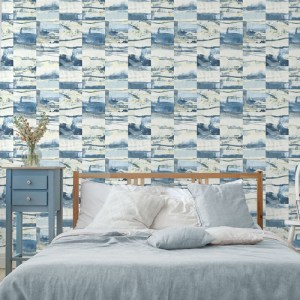 FW36815 Patton Wallcovering Norwall Fresh Watercolors Aquarelle Tile Wallpaper Blue Room Setting