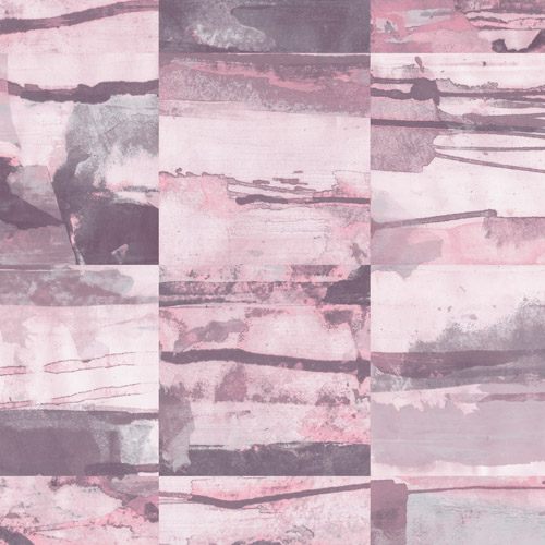 FW36816 Patton Wallcovering Norwall Fresh Watercolors Aquarelle Tile Wallpaper Pink