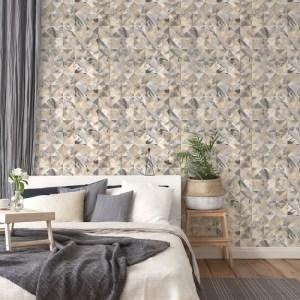FW36822 Patton Wallcovering Norwall Fresh Watercolors Mosaic Wallpaper Black Room Setting