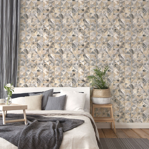 FW36822 Patton Wallcovering Norwall Fresh Watercolors Mosaic Wallpaper Black Room Setting