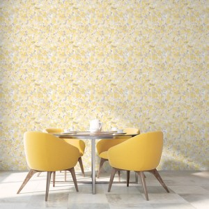 FW36823 Patton Wallcovering Norwall Fresh Watercolors Bloom Wallpaper Yellow Room Setting