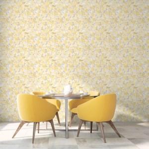 FW36823 Patton Wallcovering Norwall Fresh Watercolors Bloom Wallpaper Yellow Room Setting