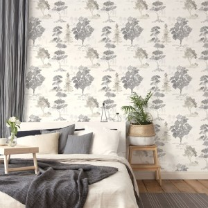 FW36833 Patton Wallcovering Norwall Fresh Watercolors Forest Wallpaper Black Room Setting