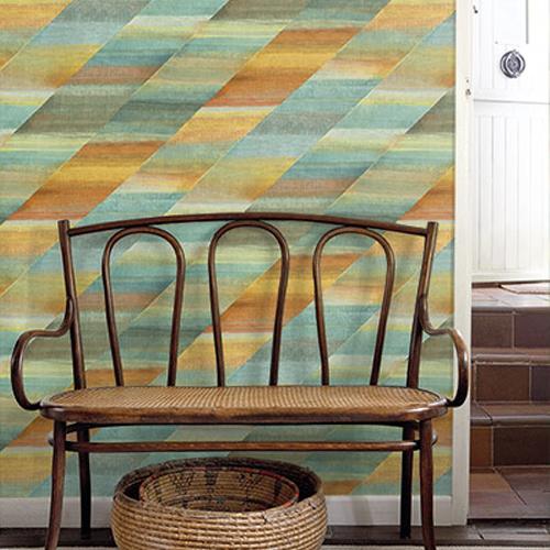 RY30303 Seabrook Wallcovering Boho Rhapsody Rainbow Wallpaper Orange Room Setting