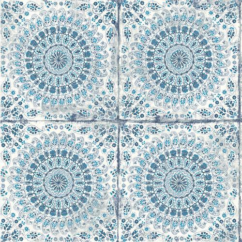 RY30702 Seabrook Wallcoverings Boho Rhapsody Mandala Wallpaper Blue
