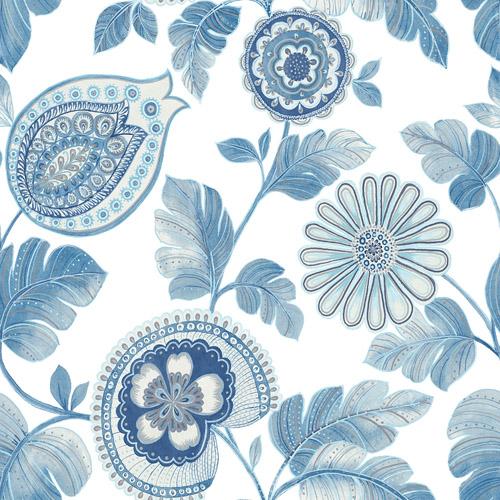 RY31202 Seabrook Wallcovering Boho Rhapsody Calypso Wallpaper Blue
