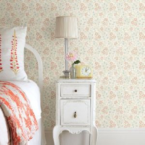 3119-13051 Brewster Wallcovering Chesapeake Kindred Patsy Floral Wallpaper Multi-color Room Setting
