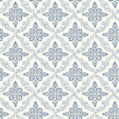 3119-13532 Brewster Wallcovering Chesapeake Kindred Wynonna Geometric Floral Wallpaper Navy
