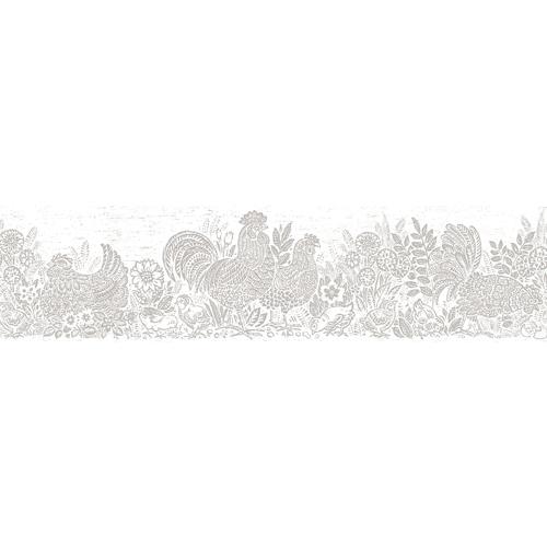 3119-13554B Brewster Wallcovering Chesapeake Kindred Parton Chicken Border Light Grey