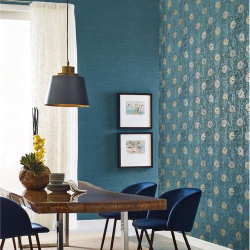 AF6519 York Wallcoverings Ronald Redding Tea Garden French Marigold Wallpaper Teal Room Setting