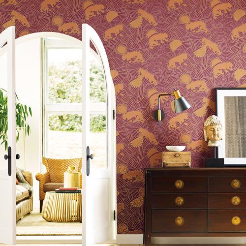 AF6552 York Wallcoverings Ronald Redding Tea Garden Tibetan Tigers Wallpaper Red Room Setting