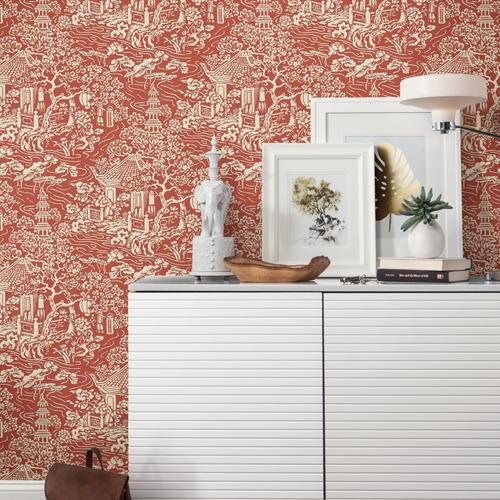 AF6576 York Wallcoverings Ronald Redding Tea Garden Chinoiserie Wallpaper Red Room Setting