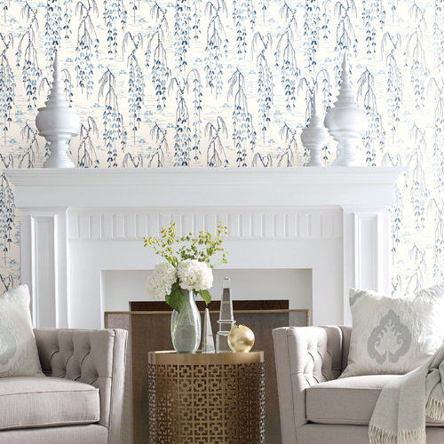AF6582 York Wallcovering Ronald Redding Tea Garden Willow Branches Wallpaper Blue Room Setting