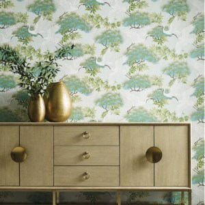AF6589 York Wallcovering Ronald Redding Tea Garden Sprig and Heron Wallpaper Teal Room Setting