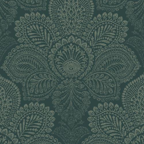 2861-25729 Triumph Medallion Wallpaper Dark Green