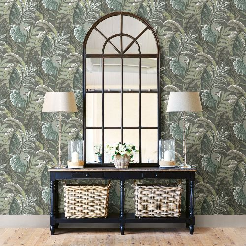2861-25761 Brewster Wallcoverings A Street Prints Equinox Verdant Botanical Wallpaper Dark Grey Room Setting