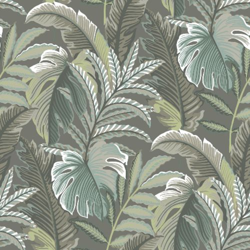 2861-25761 Brewster Wallcoverings A Street Prints Equinox Verdant Botanical Wallpaper Dark Grey