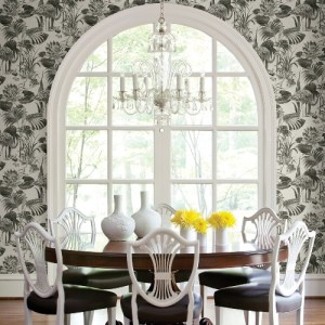 2861-87522 Brewster Wallcoverings A Street Prints Equinox Frolic Lagoon Wallpaper Black Room Setting
