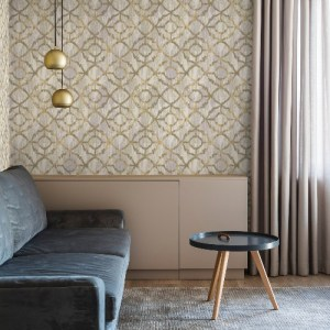 2909-SH-13028 Brewster Wallcovering Riva Dashwood Distressed Trellis Wallpaper Taupe Room Setting