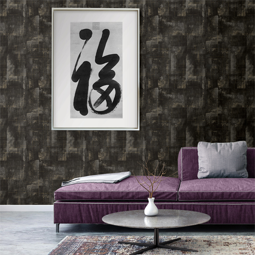 2927-20401 Brewster Wallcoverings Polished Ozone Texture Wallpaper Black Room Setting