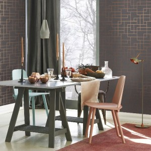 2927-42492 Brewster Wallcoverings Polished Mason Geometric Wallpaper Dark Grey Room Setting