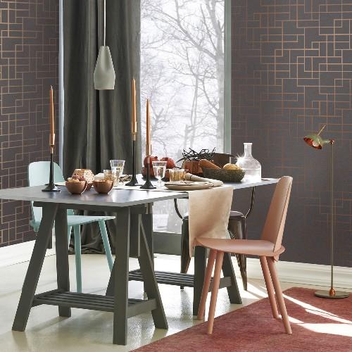 2927-42492 Brewster Wallcoverings Polished Mason Geometric Wallpaper Dark Grey Room Setting