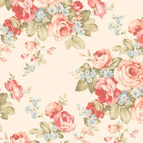 AB27614 Patton Wallcoverings Norwall Flourish Grand Floral Wallpaper Cream