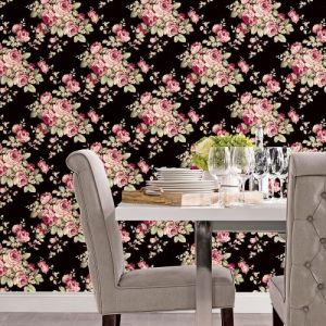 AF37700 Patton Wallcoverings Norwall Flourish Grand Floral Wallpaper Black Room Setting