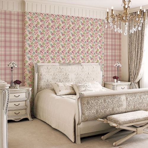 AF37724 Patton Wallcoverings Norwall Flourish Linen Floral Wallpaper Burgundy Room Setting