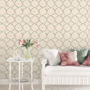AF37745 Patton Wallcoverings Norwall Flourish Floral Laurel Wallpaper Blue Room Setting